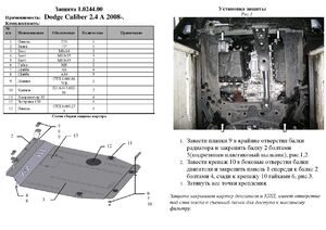 Защита двигателя Dodge Caliber - фото №3