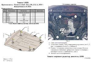Защита двигателя Renault Koleos 2 - фото №2